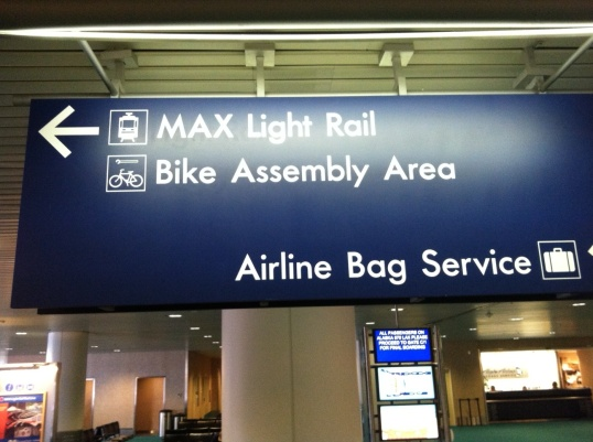 Light rail and bike integration at PDX airport.