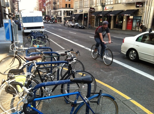 Bike corrals and bike lanes are commonplace on Portland streets.