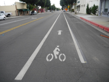 First Av. bike lane to Gold Line in Arcadia.
